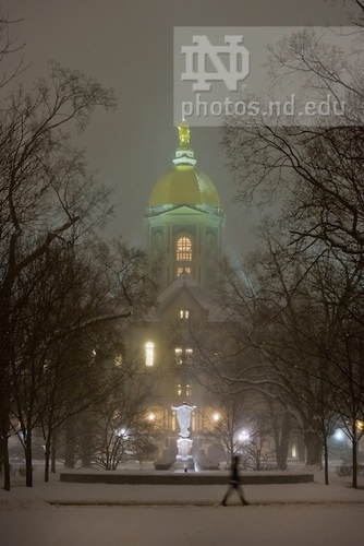 Jan. 23, 2013; Main Building in a night snowstorm. Photo by Matt Cashore/University of Notre Dame