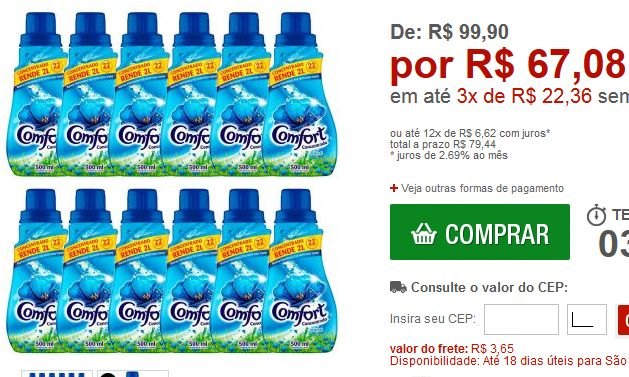 Kit com 12 Amaciante Comfort Concentrado 500ml << R$ 6708 em 3 vezes >>