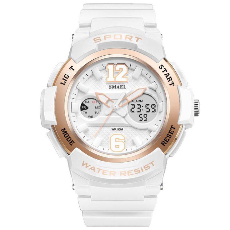 SMAEL 1632 Waterproof Light Shock Female Watch Rose Gold White Digital Watch