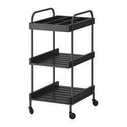 IKEA - HJÄLMAREN, Cart, black-brown, , Easy to move around with the included casters.