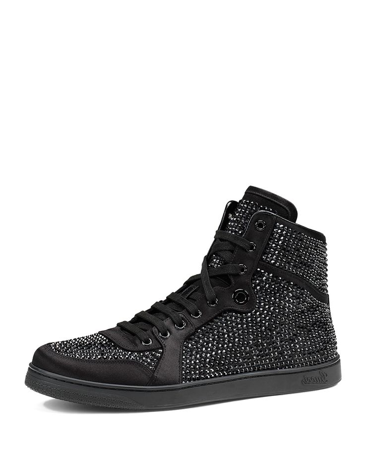 Gucci High-Top Sneaker with Crystal Studs, Black