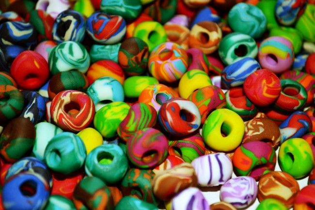Multi-coloured polymer clay beads