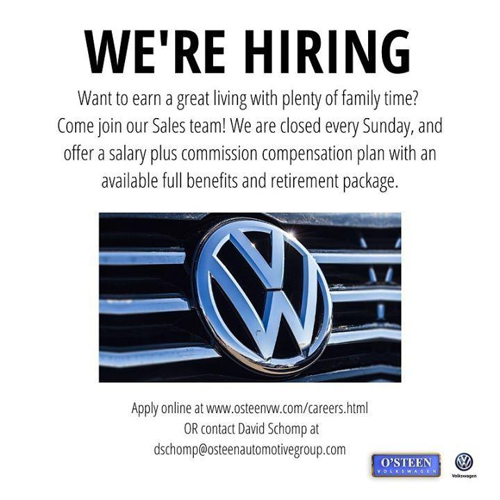 Join Our Team Were Hiring Sales Representatives At Osteenvw Volkswagen Logo Buick Logo Car Volkswagen