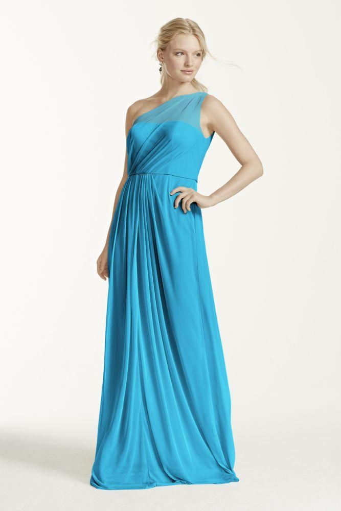 3c044b51cc Long Mesh Dress with One Shoulder Neckline Style F15928