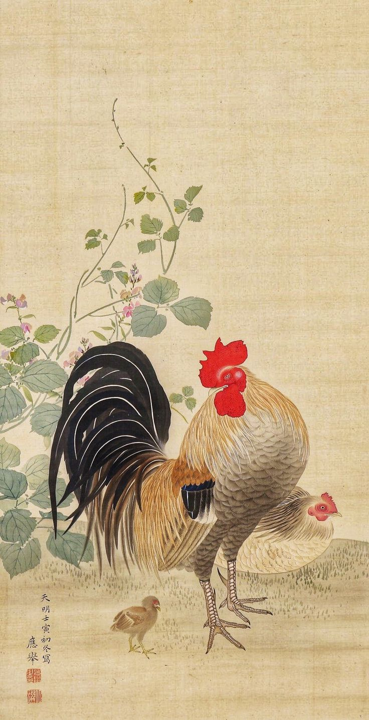 Rooster, Hen and chick. Maruyama Okyo. Japanese hanging scroll. Eighteenth century. 円山応挙〉花鳥図 隠元豆鶏図.