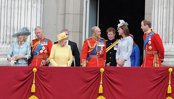 """Queen Elizabeth II and Duke of Edinburgh at the """"Trooping the Colour"""" birthday celebrations in London with aerial perfomance 2012"""