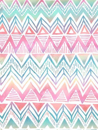 Lido Chevron Art Print by SchatziBrown #pastel #tribal #chevron