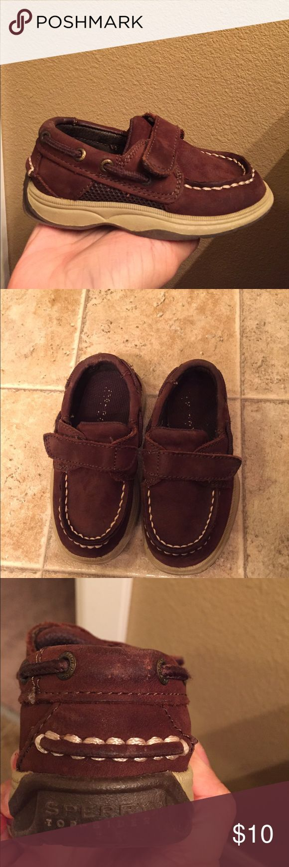 toddler Sperrys These leather sperrys are used but still in great condition. My son outgrew them but they are easy on and off shoes ! And comfy for little feet. Sperry Top-Sider Shoes Dress Shoes