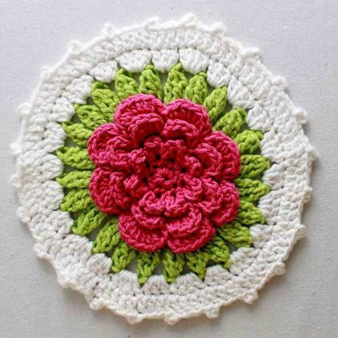Picture of Floral Bouquet of Dishcloths Set 1 Crochet Pattern
