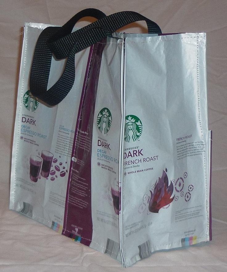 Recycled Tote Bag Starbucks Coffee Bean Bag Decaf by PBandJ, $12.50