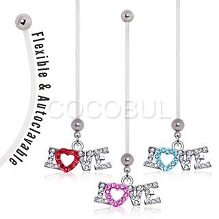 BioFlex Two Tone 'Love' Dangle Pregnancy Navel Ring $9.99   #pregnant #preggers #expecting #mom #mommy #newmom   #love #heart #red #pink #blue #cz #bellyring #navelring #piercing #bodymod  #bodyjewelry #jewelry  #cocobul #cocobulbodyjewelry