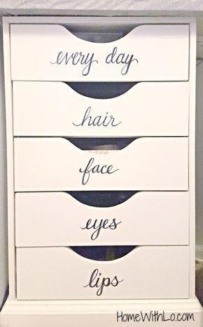 Makeup vanity organization. Perfect! https://www.youtube.com/watch?v=YIrR9zM_1oo