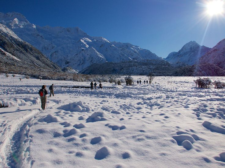 Walking between Aoraki/Mt Cook Village and the trail head for most hikes in the National Park.