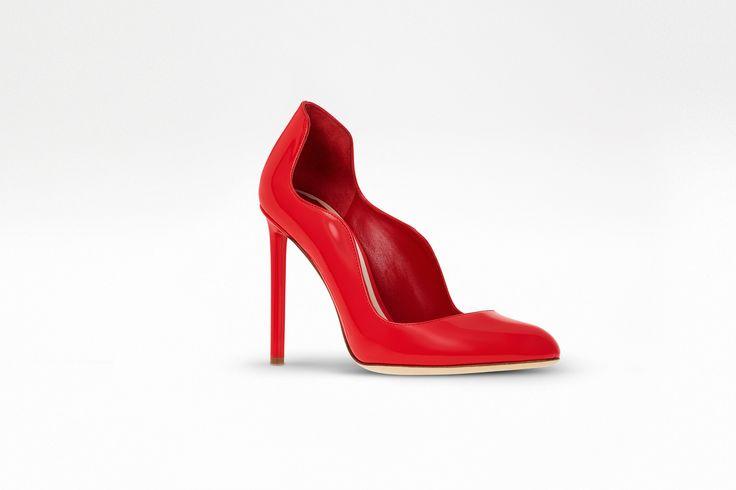 Escarpim em couro de bezerro envernizado vermelho, 10 cm - Dior