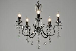 hanglamp  71270: modern, klassiek, chroom, kristal, metaal, rond ...