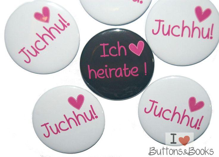 10x+Hochzeitsbuttons+Junggesellinnenabschied++Herz+von+Buttons&Books+auf+DaWanda.com