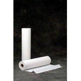 Rollo papel para camilla fabricado en pasta lisa blanca, doble capa, con precorte. Medidas: Ancho 60 cm. Largo 70 mts. Presentación en caja de 6 unidades. Precorte cada 50 cm. Disponible también en color azul. http://www.ilvo.es/es/product/rollo-camilla-pasta-60-x-70---6-unds