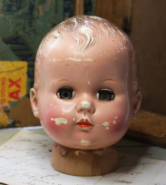 Vintage Doll Head With Creepy Sleeping Eyes- Scary Doll