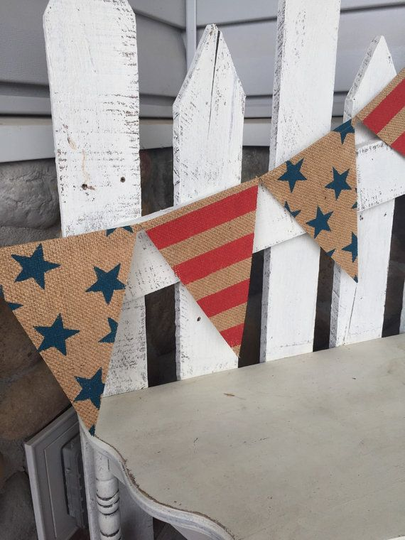 American flag banner, burlap pennant banner, USA banner, 4th of July decor, July 4th, stars and stripes banner, burlap banner, porch decor