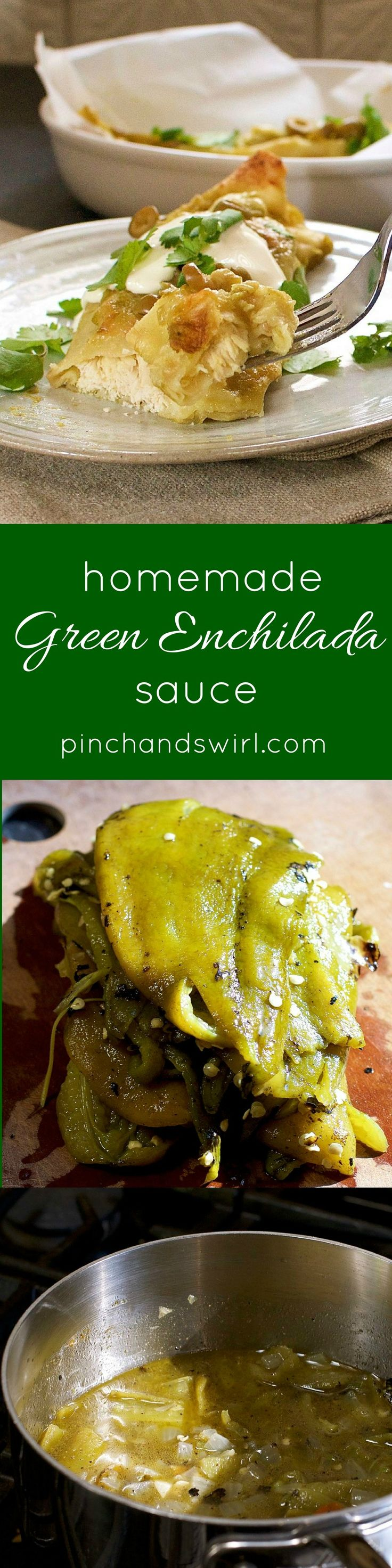 Green Chile Enchilada sauce is tangy and rich and, best of all, so easy to make yourself! Just roast green chiles, then simmer them with onions, garlic, jalepenos and spices. Give the mixture a quick blend and you're ready to make enchiladas from scratch!