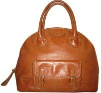 Chloé Leather Sturdy Bowler Vintage Tote in Cognac Brown