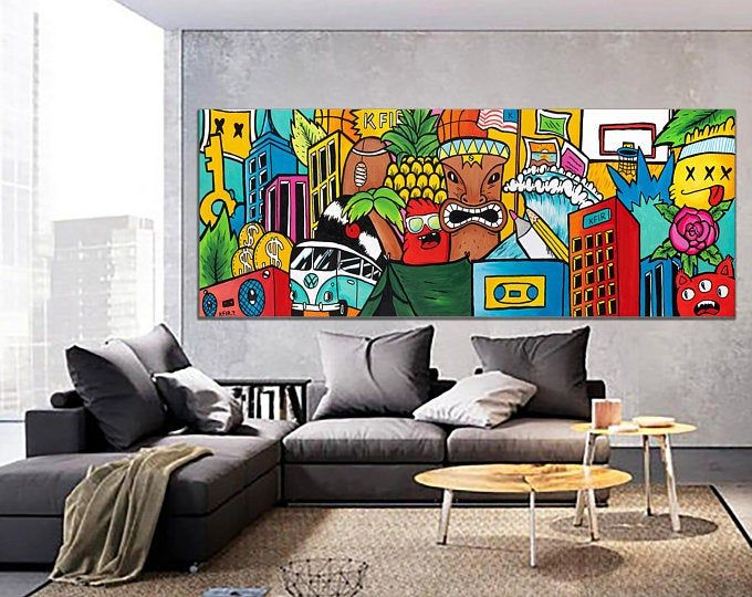 Pop Art Graffiti Style Original Painting Prints By Kfirtager Horizontal Wall Art Graffiti Style Art Pop Art Canvas