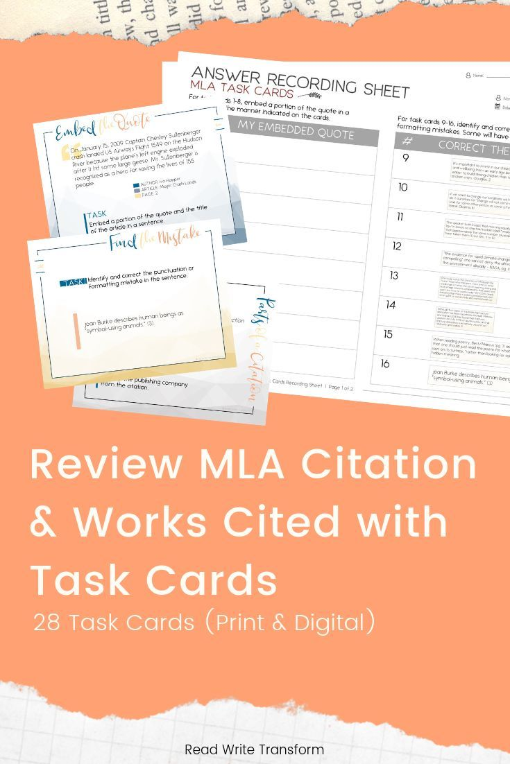 A Set Of 28 Card For Mla Format And Citation The Perfect Way To Practice How Embed Quote Task Middle School Writing Lesson Cite Chapter In