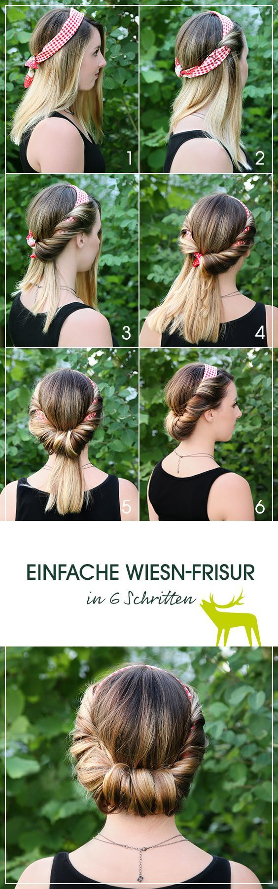 Step-by-step instructions for a simple and stylish Oktoberfest hairstyle. The sophisticated silk scarf with check pattern by Reitmayer makes it an eye-catcher