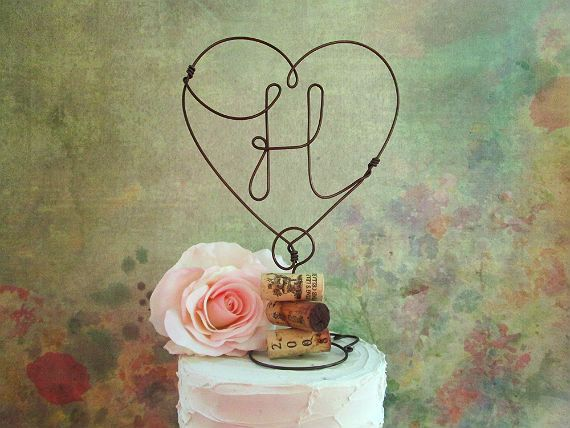 Rustic INITIALS Wine Wedding Cake Topper Wine Wedding by AntoArts