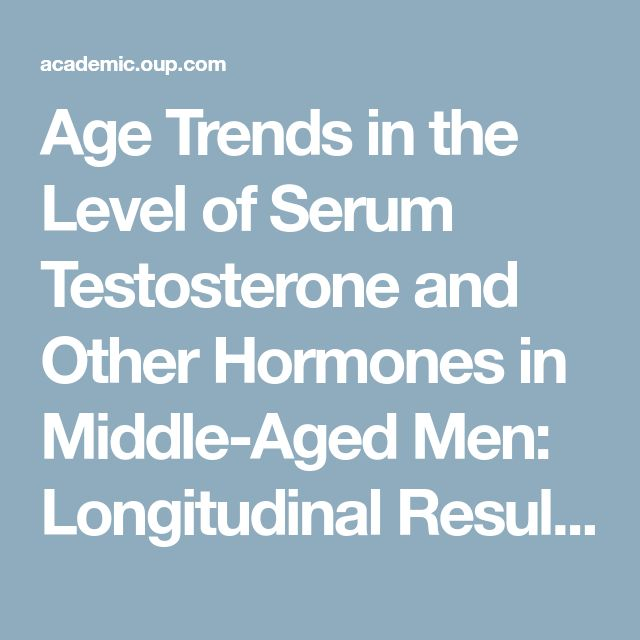 Age Trends in the Level of Serum Testosterone and Other Hormones in Middle-Aged Men: Longitudinal Results from the Massachusetts Male Aging Study | The Journal of Clinical Endocrinology & Metabolism | Oxford Academic