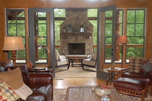 four season room with fireplace | the 4 season room with the stone fireplace.....my ... | Rooms I like.                                                                                                                                                     More