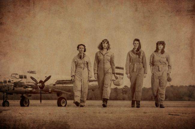 air force WW II, women, photo editing, Photoshop, photography, sepia