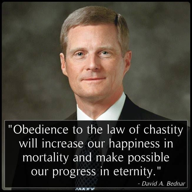 """Obedience to the law of chastity will increase our happiness [now] and make possible our progress [forever]."" http://youtu.be/XEAdt2yv48k From #ElderBednar's inspiring #LDSconf http://facebook.com/223271487682878 message http://lds.org/general-conference/2013/04/we-believe-in-being-chaste •How has living morally clean blessed your life and family? •Learn more http://lds.org/topics/chastity and #passiton. #ShareGoodness"