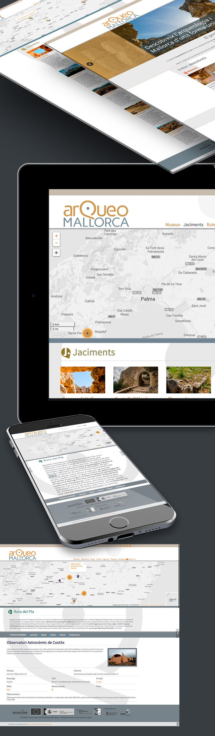 Cliente: ArqueoMallorca  Desarrollo: Desarrollo Web en WordPress Integración con API de Google Maps Desarrollo de dos plugins para Geolocalización de puntos referenciados en el mapa Creación de plantillas para diversos portfolios como Museos, Yacimientos y Rutas. Creación de Plugin de ubicación de rutas GeoTuristicas.  y responsive y multidioma (Ingles, español y catalán)