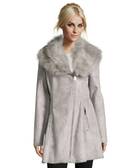 Catherine Catherine Malandrino Luxurious Faux Shearling Fit & Flare Asymmetrical Zip Coat With Oversized Faux Fur Collar