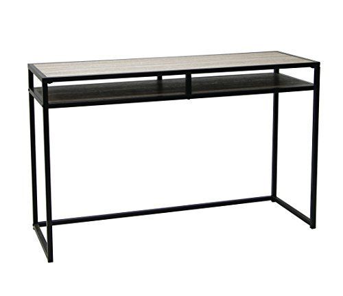 This Weathered Grey Oak Finish Black Metal with Shelves Console Sofa Table / Computer Desk is a great addition to your home decor. Can be used as a console table or a computer desk. Features 2-tier of shelves for display or put computer / notebook. Dimensions: 30 inches high x 47.5 inches long x... more details available at https://furniture.bestselleroutlets.com/accent-furniture/sofa-console-tables/product-review-for-weathered-grey-oak-finish-black-metal-with-shelves-console