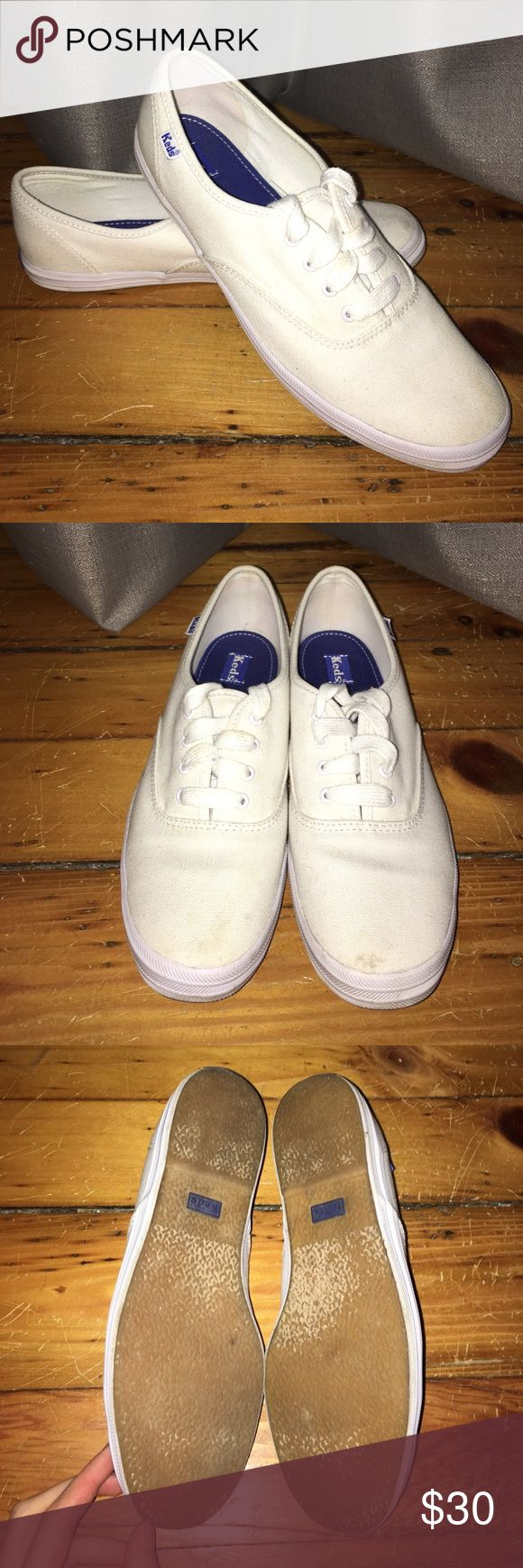 Classic cute white Keds White canvas Keds sneakers. Gently used and very clean. Keds Shoes Sneakers