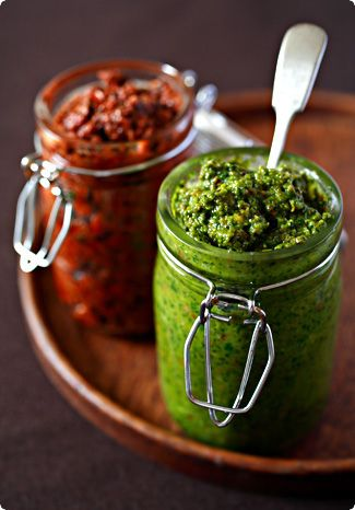 beautiful & fresh toppers and dips!! pesto rosso & sicilian nut pesto