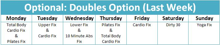 21 day fix doubles schedule