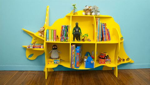 This budget-friendly triceratops bookshelf is easily assembled and is made from a single sheet of plywood, which costs less than $50. Simply cut out the components, slot together and paint in a cheery colour, then it's ready for action in your kid's room.