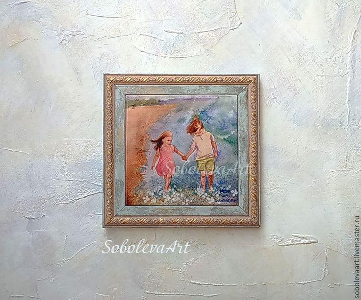 Купить Картина Дети на Пляже Бегущие Дети Жикле на плитке. - картина с девочкой, картина с мальчиком