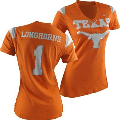Fanzz Sports Apparel,Texas Longhorns Nike NCAA Women's Replica T-Shirt NFL, NBA, MLB Apparel, NFL, MLB, NBA Jerseys and Merchandise, NHL Shop | Fanzz