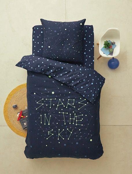 Parure phosphorescente housse de couette + taie d'oreiller enfant STARS IN THE SKY* - Bleu Nuit - 1