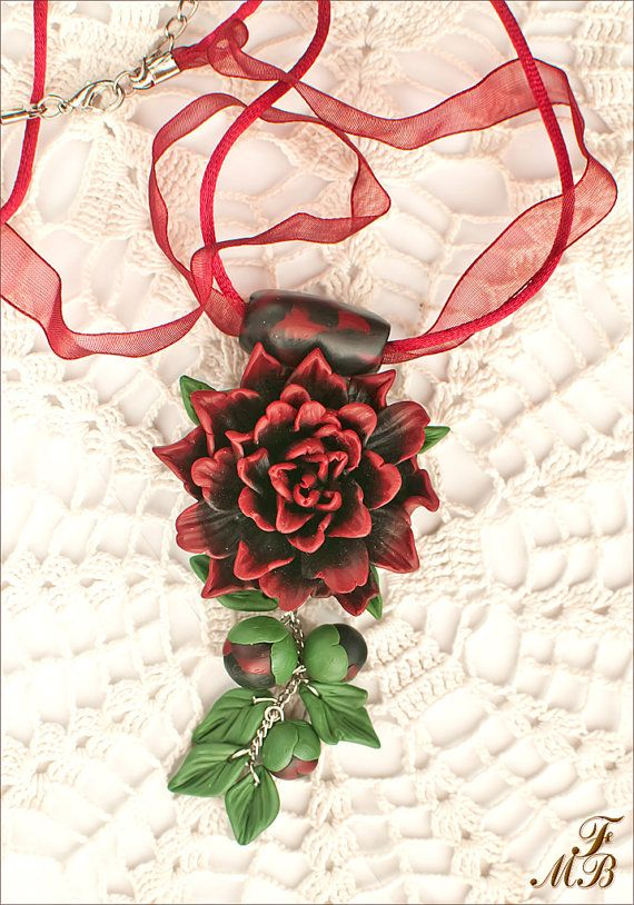 St. Valentine Day's gift_Handmade Jewelry Necklace_Pendant_Polymer Clay Flower_ Red And Black Dahlia And Buds_Unique Gift For Girl