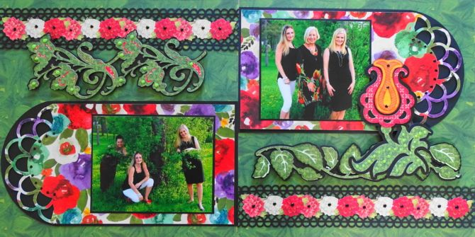 This is a floral scrapbook page idea. I used a Cricut leaf border image from Anna's Lace Cards on this page. To learn how to make this page, go to my blog at Everyday Life Scrapbook 38 - Me and My Cricut