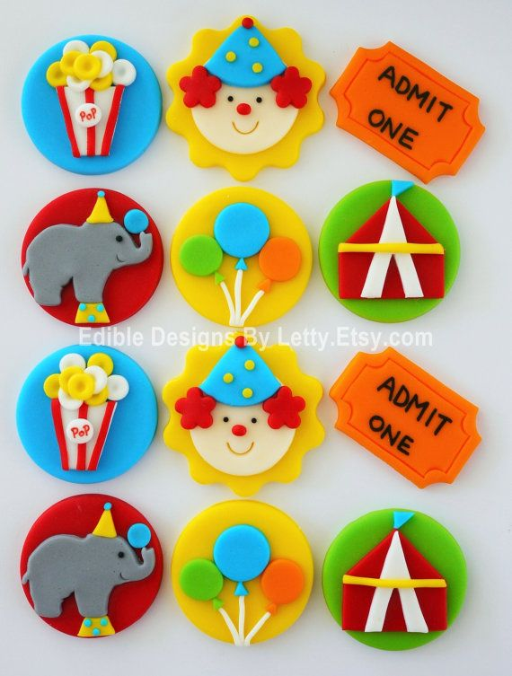 Edible Fondant Circus Themed Cupcake Toppers - Clown, Elephant, Popcorn, Balloons,