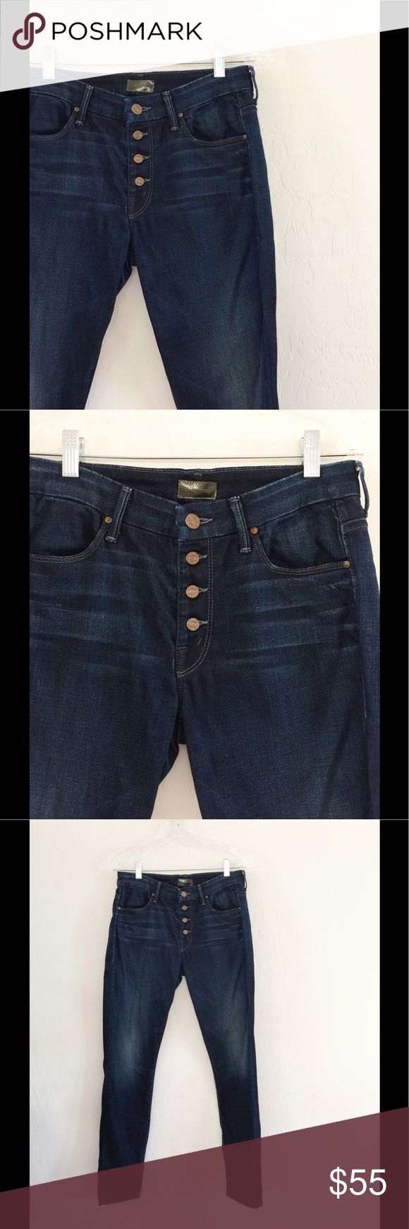 """EUC Mother Jeans Button up Mother jeans that have an AMAZING fit. The buttons give a more fashionable look and pull in the tummy. 👌🏼 Beautiful med wash. Measurements : Rise: 9"""" 