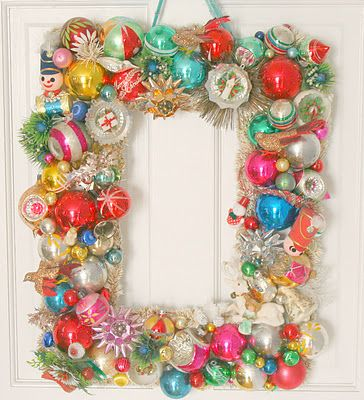 vintage ornaments in a rectangular wreath...love
