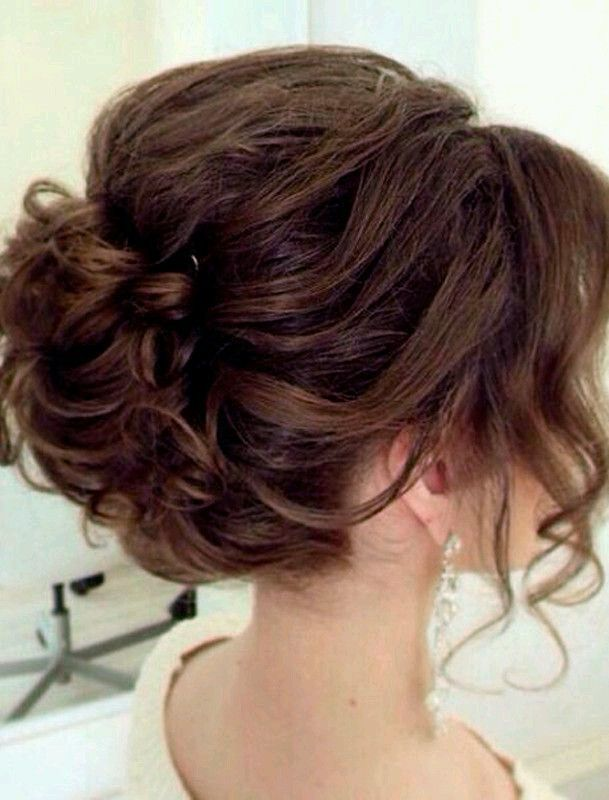bride, brown, chignon, classy, curly, earrings, elegance, hairstyle, ispiration, wedding