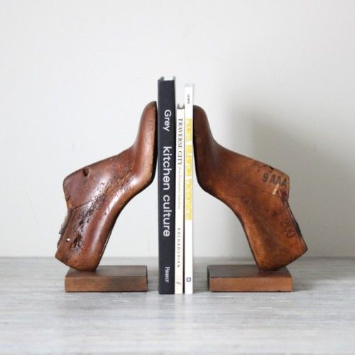antique wooden shoe forms as bookends - like it!